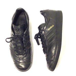 Adidas Gazelle Shoes Black/ Black/ Gold 9.5D